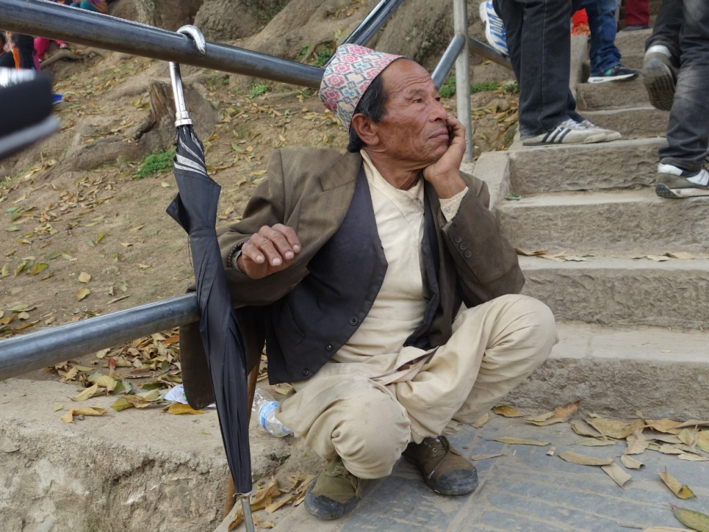 Auf der Treppe zu Swayambhunath